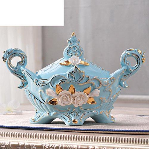 MYITIAN Caja de joyería de cerámica Europea Azul Modernos y Ornament