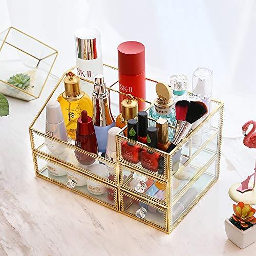 Kcakek Cosmetische Storage Box Glazen sieraden Cosmetische afwerking box Transparant Table Dresser Lipstick Skin Care Rack Layered Storage Box Cosmetische Storage In badkamer en slaapkamer