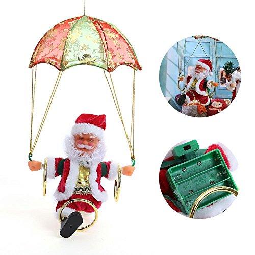 Achort Juguetes eléctricos de Navidad con Pilas Figuras de Papá Noel Volar Paracaídas Santa Cantando Música 360 ° Girar Niños Hula Hoop Juguete Regalo Decoración de jardín
