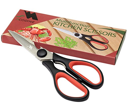 Heavy Duty Kitchen Shears -Take Apart Stainless Steel Blades, Comfort Rubber Grip Handles with Bottle Opener and Nutcracker - Multipurpose Scissors for Chicken, Meat Fish and Herbs - Acodine