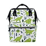 My Little Nest Large Capacity Baby Diaper Bag Funny Dinosaurs Leaves Durable Multi Function Travel Backpack for Mom Girls