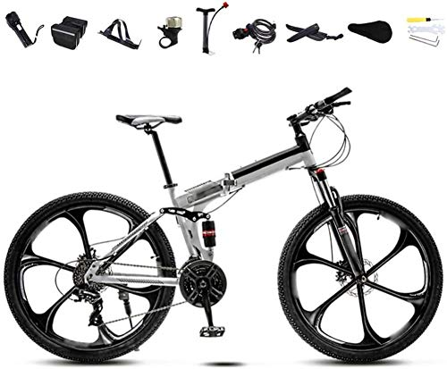 26 Inch MTB Bicycle Unisex Folding Commuter Bike 30-Speed Gears Foldable Mountain Bike Off-Road Variable Speed Bikes for Men And Women Double Disc Brake-A_30 speed
