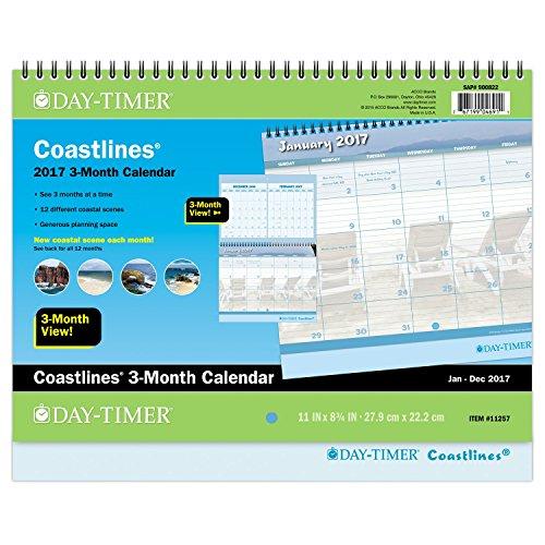 """Day-Timer Wall Calendar 2017, Monthly, 3-Month Calendar, 11 x 8-3/4"""", Wirebound, Coastlines (11257)"""