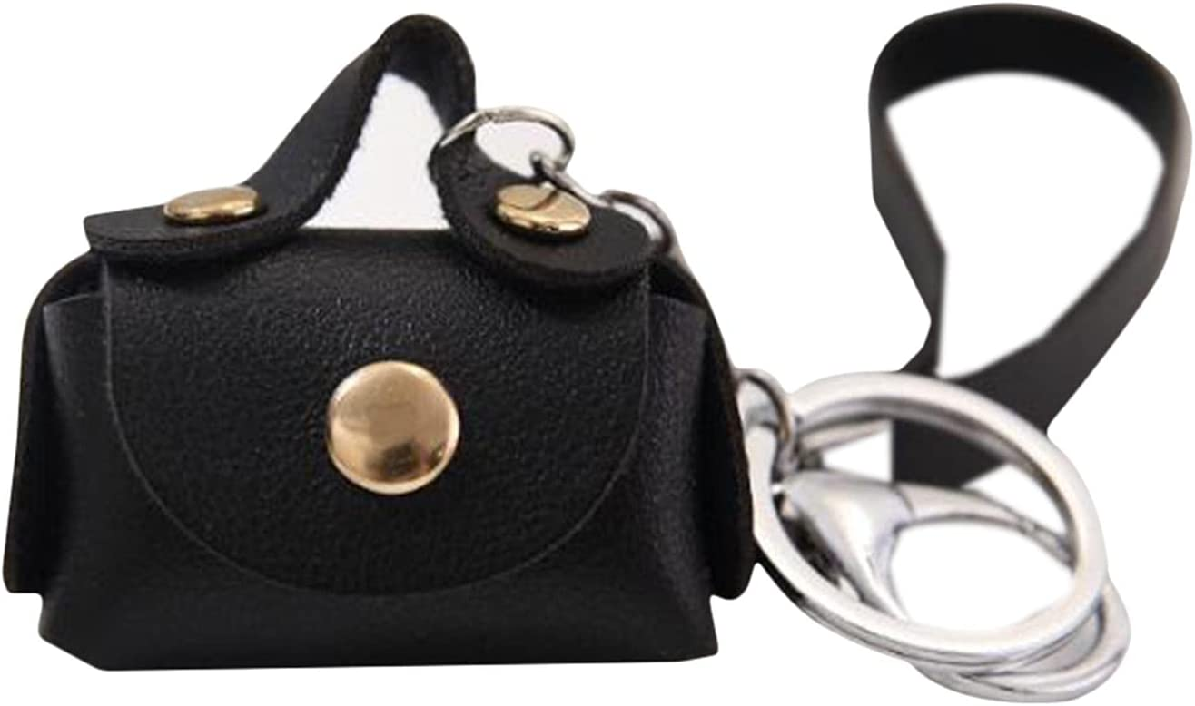 Meoliny Mini Bag Keychain with Wrist Strap Keyring Women Car Purse Pendant Keychains,Black