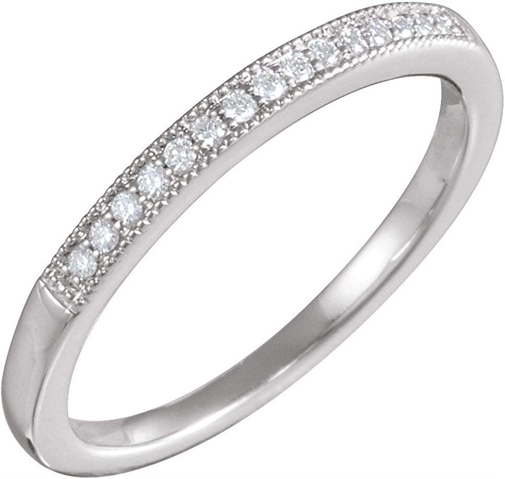 Solid Platinum 1/10 Cttw Diamond Ring Band (.10 Cttw) (Width = 2mm)