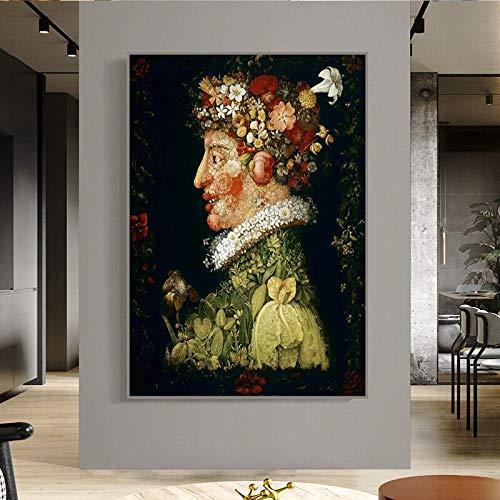 wZUN Flor Hombre Pintura al óleo clásica Lienzo Arte Carteles e Impresiones imágenes artísticas Famosas decoración del hogar 60x80 Sin Marco