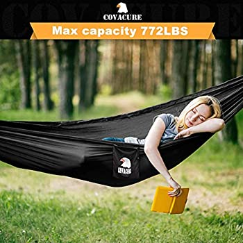 COVACURE Camping Hamac Set avec Moustiquaire, 2 Sangles D'arbres Carabiners Cordes Double Portable Outdoor Léger Nylon Hamac pour Camping Randonnée Pédestre Jardin Voyage - 350 KG de Capacité