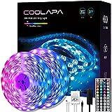 20M Tira LED, COOLAPA Luces LED RGB 5050 12V, Iluminación de ambiente, Control Remoto de 44 Teclas para Decoración de Casa, Jardín, Fiesta, 2 rollos de 10m