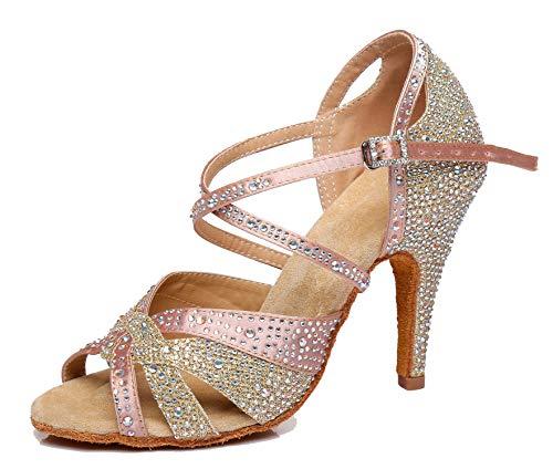 MINITOO Damen Latein Salsa Funkeln Pink Gold Satin Tanzschuhe Braut Sandalen EU 38