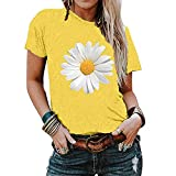 2021 Nuevo Camiseta Mujer Verano Moda impresión Margarita Manga Corta Blusas Camisa Cuello Redondo Basica Camiseta...