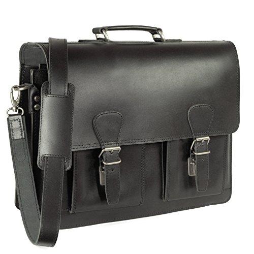 Klassische Aktentasche/Lehrertasche Größe L aus Leder, für Damen und Herren, Schwarz, Hamosons 600