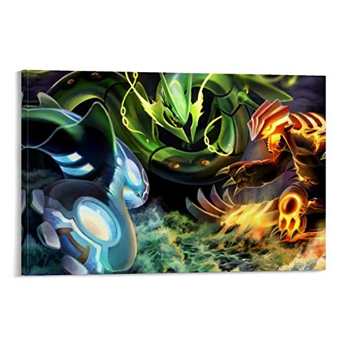 DRAGON VINES Japanisches Anime-Pokémon Rayquaza Kyogre Groudon Poster Prints Canvas Prints Wall Art for Living Room Home Office 40 x 60 cm