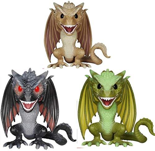SKP 3 PC Juego de Tronos Cara figurita Pop Green Dragon Rhaegal Drogo, por el Regalo de los niños, cumpleaños y decoración de la Oficina