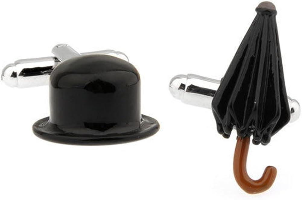 Mens Executive Cufflinks Classic Black Enamel English Hat and Umbrella Cuff Links