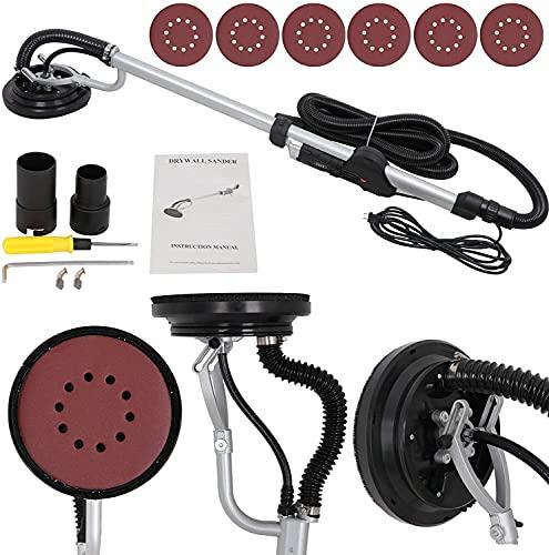 F2C Electric Drywall Sander 800w Adjustable Variable 6 Speed Disc Sander w/ 6 Sand Pads, 1000-2000RPM