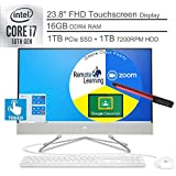 "2020 HP 24 AIO 23.8"" FHD Touchscreen All in One Desktop Computer_ 10th Gen Intel Quard-Core i7-10510U_ 16GB DDR4 RAM, 1TB HDD + 1TB PCIe SSD, Windows 10_ BROAGE 64GB Flash Stylus, Online Class Ready"