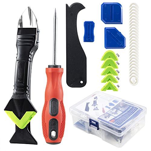 3 in 1 Silikon entferner Werkzeug Set (Edelstahlkopf)-Silikon Caulking Werkzeug Kit für Küche Bad Boden Fliesen mit Silikon Fugenwerkzeug, Kratzahle, Silikon Fugenglätter, 25 Latex Fingerbetten (Grün)