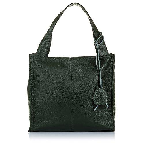 FIRENZE ARTEGIANI. Vera pelle signora borsa shopping bag. Borsa in pelle genuino_piel Dollaro_ soft touch. MADE IN ITALY. VERA PELLE ITALIANA. 34 x 32 x 14 cm. colore: verde scuro