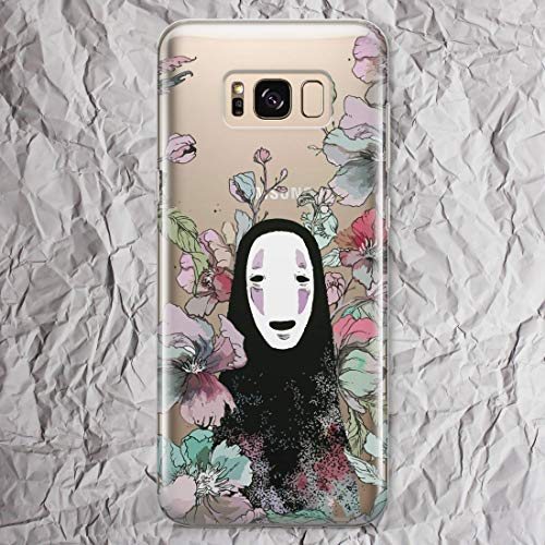 Kaonashi No Face Man Spirited Away Phone Case Anime for Samsung Galaxy S9 S8 S20 Ultra S10 Note 10 Plus 9 8 S10e S7 S6 Edge S10 5G Floral Flowers Collection Accessories Gifts Clear Cover