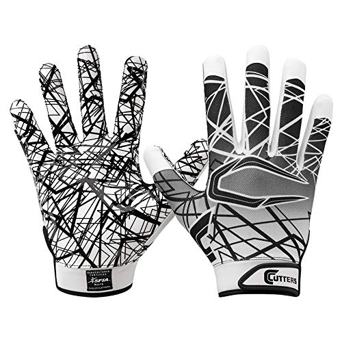 Cutters Jugend und Senior S150 Game Day Receiver Handschuhe Youth Adult Gloves - weiß Gr. L