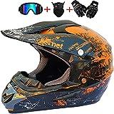 SHANREN Casco para Motocross, Adulto Integrado Motocross Casco para Hombre Mujer 4pcs Juego De Casco De Moto + Gafas + Guantes +Mascara, Florales Crash Moto Casco (Naranja/Verde),Naranja,S