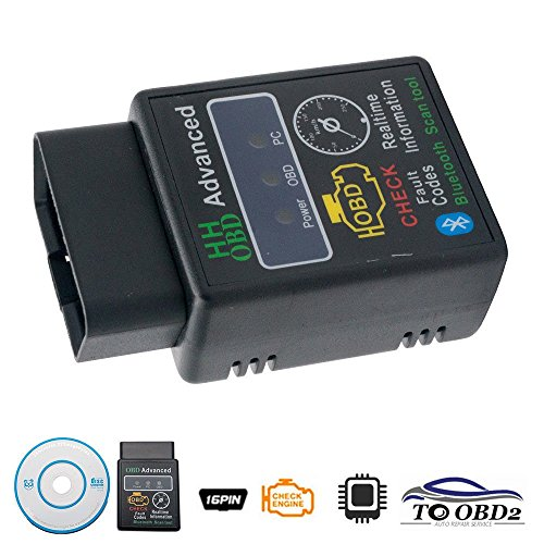 Maso, strumento diagnostico OBD2 Bluetooth per scanner auto, con tecnologia wireless e software Torque per Android, 2.1V, modello ELM327 (lingua italiana non garantita)