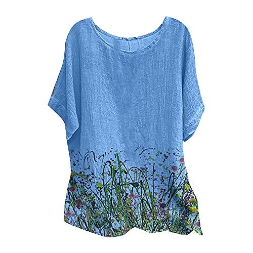 Camisetas de verano para mujer de manga 3/4 más tamaño sueltas de algodón de lino blusas casuales cuello redondo túnica cómoda fresca camisetas, Camisetas De Mujer Azul, XXL, 3- U1 Azul