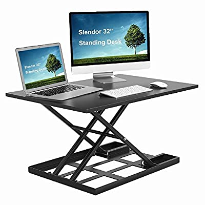 "Seeutek Air Rise Standing Desk Converter 32 x 22"" Inch Extra Large Ergonomic Sit Stand Height Adjustable Desks Converter Gas Spring Work Station Easy Lift for Dual Monitor Setup"