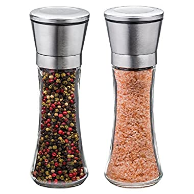 K Basix Salt and Pepper Shaker Grinder Set of 2-6 Oz Capacity, Stainless Steel Top and Tall Glass Body