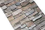 Carta da parati 3D, carta da parati in pietra effetto peel e ricamo, stile vintage, 3D, con ardesia ciano-ciana, autoadesiva, per lastre di pietra Fuax