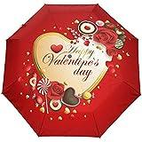 Happy Valentines Day Blumen Blumen Rosen Herz Liebe Auto Open Close Sun Regen Regenschirm