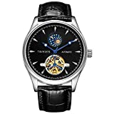 Relojes De Pulsera,Moon Phase Display Tourbillon Reloj Mecánico Automático Trend Fashion Reloj para Hombre, Cinturón Negro, Estuche Blanco, Cara Negra