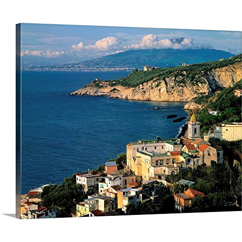Italy, Campania, Gulf of Naples, View Towards Marciano and Mt. Vesuvius Canvas Wall Art Print.
