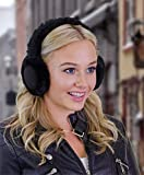 ALZO Bluetooth Earmuff Headphones Fashion Accessory Black - Quality Music or Phone with Built-in Mic - Up to 8 Hrs of Play Talk Time, 60 Hrs Standby