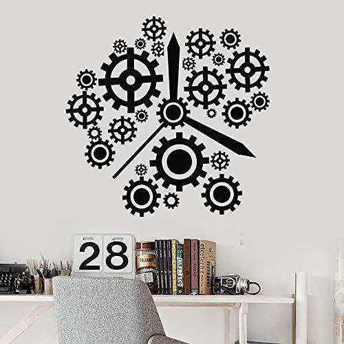Calcomanías de pared de engranajes tiempo para trabajar reloj estudio de oficina decoración de interiores puertas y ventanas de negocios pegatinas de vinilo papel tapiz creativo