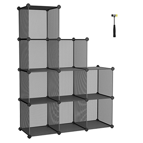 SONGMICS DIY Guardaroba Scarpiera Fai-Da-Te con 9 Cubi in Rete Metallica Scaffale Portaoggetti Mobile Versatile con Ripiani Include Martelletto di Gomma Nero 93 x 31 x 123 cm(L x P x A) LPL115H