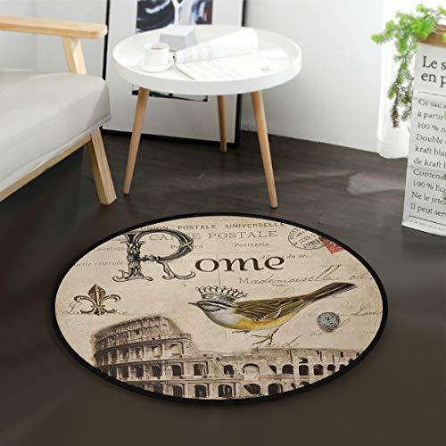 LUPINZ Romantic Roma Alfombra Redonda Antideslizante Alfombra romántica Roma Felpudo para habitación