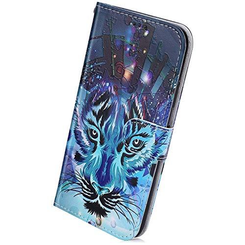 Herbests Kompatibel mit Samsung Galaxy A60 Handyhülle Lederhülle Retro Bunt Ledertasche Brieftasche Schutzhülle Klapphülle Kartenfach Bookstyle Handytasche Etui mit Magnet,Wolf