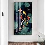 ganlanshu Quadro su Tela Immagine di Tela ad Olio di pesce Rosso sul Poster da parete e stampe su Tela a Olio di pesce40X80cm