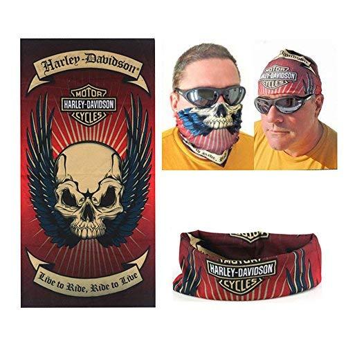 Dodo® - Sciarpa multiuso Harley Davidson da motociclista, passamontagna, tubolare, fascia, scaldacollo, bandana