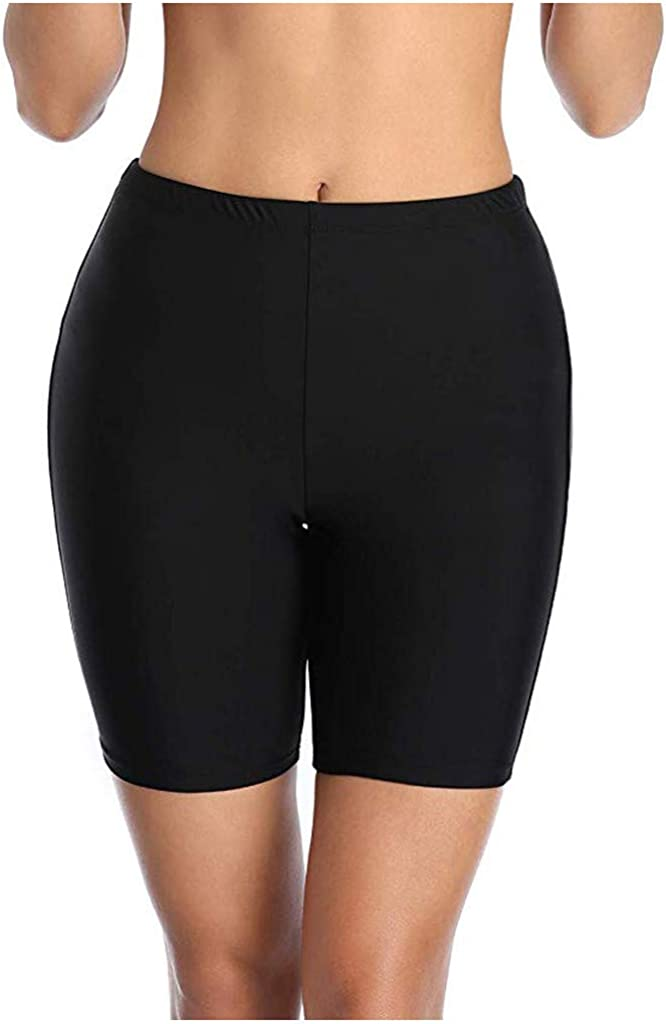 FORUU 2020 New Womens Swim Shorts Black Sale High Waist Mesh Tankini Bottoms Tummy Control Swimsuit Briefs Board Short