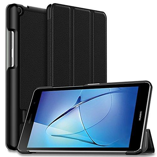 Huawei MediaPad T3 7 WiFi Hülle Case, Ultra Dünn Superleicht Ständer Cover Schutzhülle Tasche für Huawei MediaPad T3 7 WiFi Tablet(NOT for Huawei MediaPad T3 7 LTE)(Schwarz)