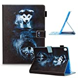 Uliking New iPad 8th /7th Generation Tablet Case, iPad 10.2 inch 2020/2019 Cover Multi-Angle Viewing Folio Stand Smart PU Leather TPU Cover with Pencil Cards Holder [Auto Sleep/Wake], Wolf and Dog