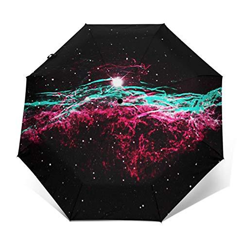 Paraguas Plegable Automático Impermeable Nebulosa del Velo 271, Paraguas De Viaje Compacto a Prueba De Viento, Folding Umbrella, Dosel Reforzado, Mango Ergonómico