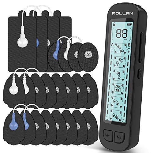 Mollan Dual Channel TENS Unit 24 Modes Electronic Pulse Massager with 12x2 Electrode Pads, EMS Muscle Stimulator Therapy for Lower, Shoulder, Arm, Back, Leg, Foot, and Arthritis Pain