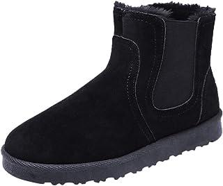 S&H-NEEDRA Chaussures Hommes, Hiver Chaud Hommes Solides EuropéEn RéTro Cheville Plate Bottes à Bout Rond Chaussures