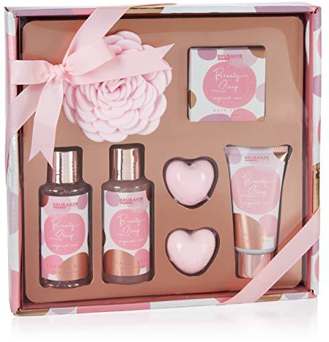 BRUBAKER Cosmetics Bade- und Dusch Set Beauty Sleep Sugared Rose - Rosen Duft - 7-teiliges Geschenkset - Präsent für jeden Anlass - Rosa Roségold