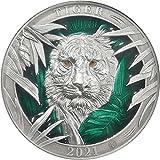 2021 BB Colours Of Wildlife PowerCoin Majestical Tiger 3 Oz Silver Coin 5$ Barbados 2021 Antique Finish