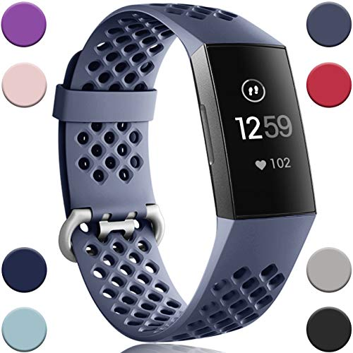 Wepro Bands Replacement Compatible Fitbit Charge 3 for Women Men Large, Waterproof Breathable Holes Watch Sport Strap Accessories for Fitbit Charge 3 SE Fitness Tracker, Blue Gray