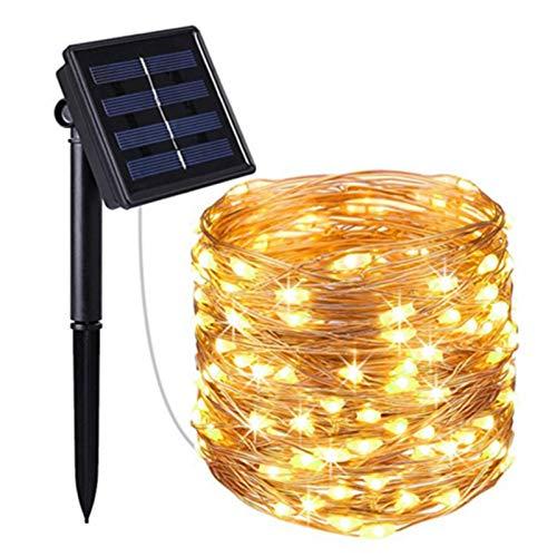 luminiu Cadena de luces solar de alambre de cobre para exteriores, 10 m, 100 ledes, resistente al agua, al aire libre, para jardín, casa, boda, fiesta
